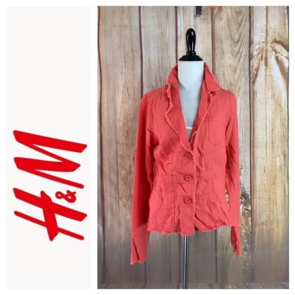 ➡️H&M Orange Linen Blazer Size 10